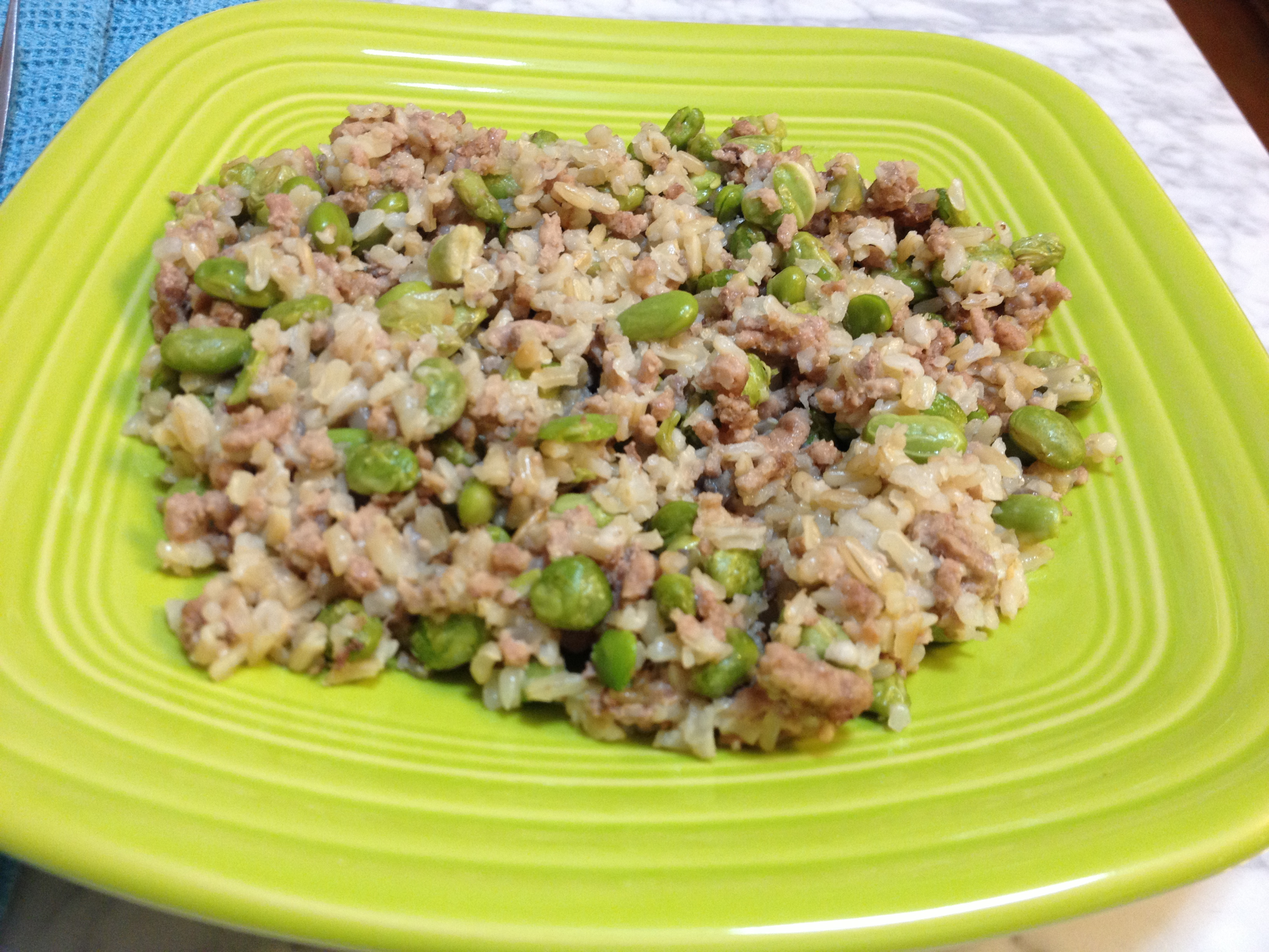 Ground Turkey, Edamame & Brown Rice: Harvey's One-Skillet Wonder