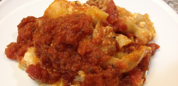 slow cooker lasagna close up