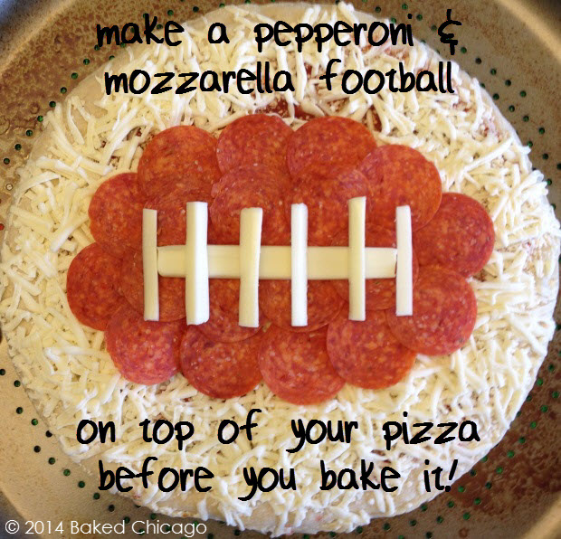 make a pepperoni & mozzarella football on top of your pizza
