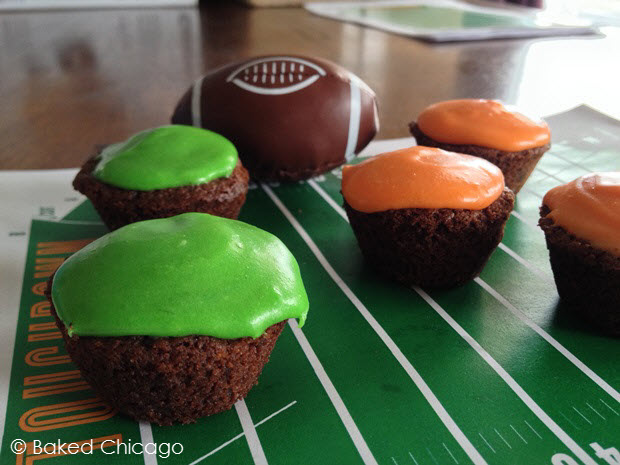 Football Fumble Nutter Brownie Bites (Peanut Butter Brownies with Marshmallow Butter Cream Frosting)