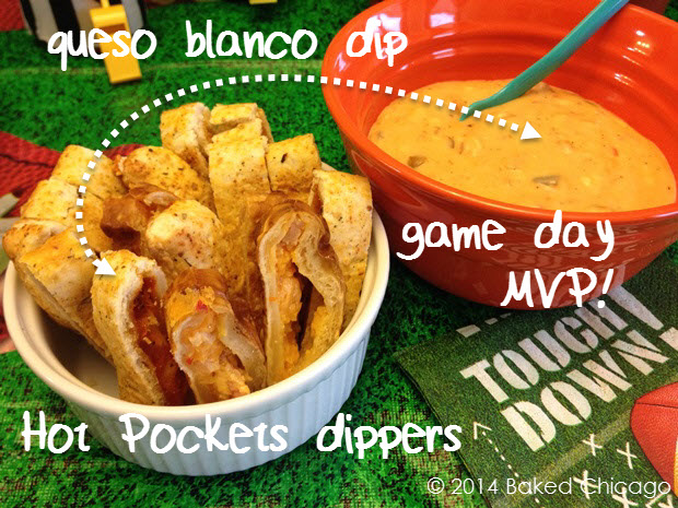 queso blanco dip with Hot Pockets dippers