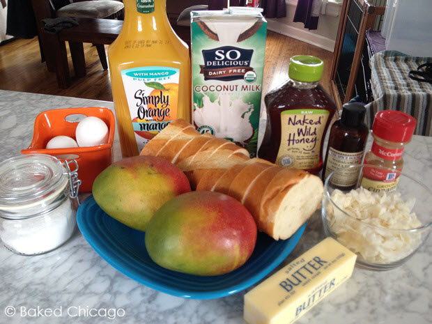 organizing ingredients for coconut-mango upside down baked French toast #shop #JungleFresh