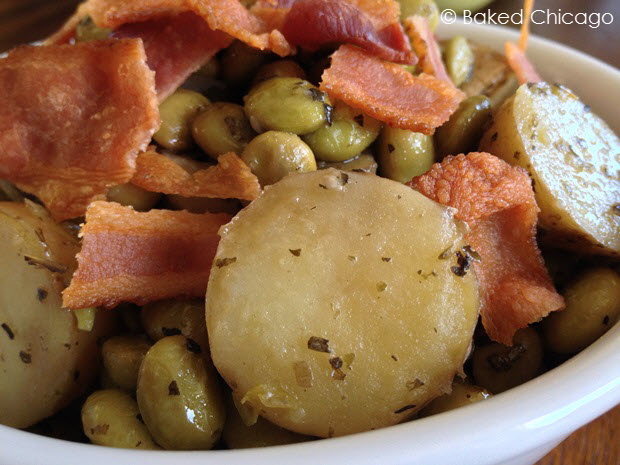 Rustic New Potatoes with Bacon & Edamame