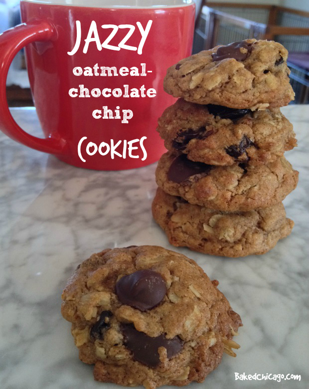 Jazzy Oatmeal Chocolate Chip Cookies with dried cherries and cinnamon