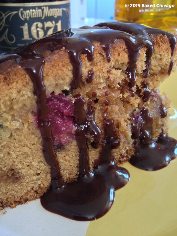 Rum-infused Bing Cherry & Chocolate Chip Olive Oil Cake
