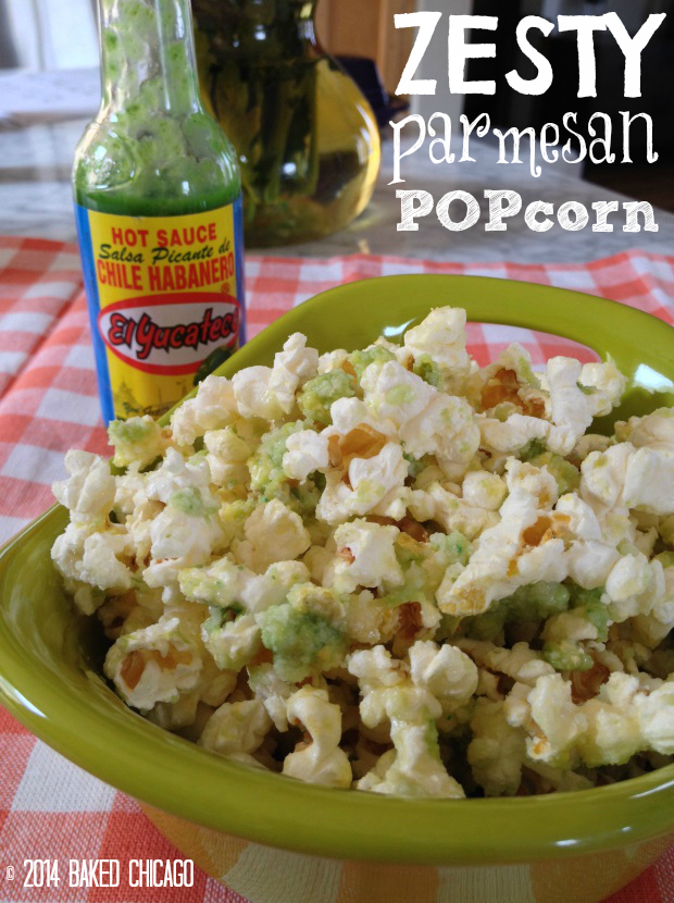 zesty parmesan popcorn #SauceOn #CollectiveBias #shop El Yucateco Green Habanero Host Sauce Recipes