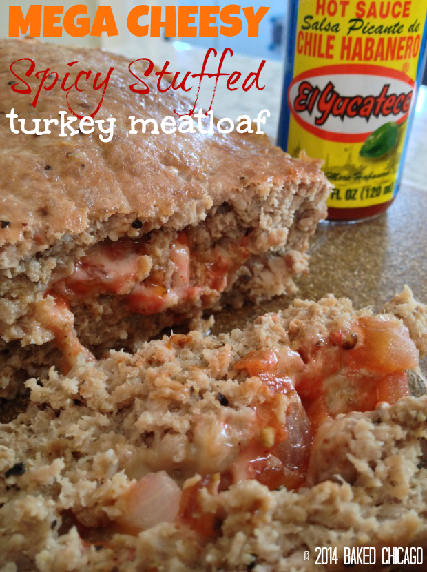 Mega Cheesy Spicy Stuffed Turkey Meatloaf #SauceOn #CollectiveBias #shop El Yucateco Red Habanero Host Sauce Recipes