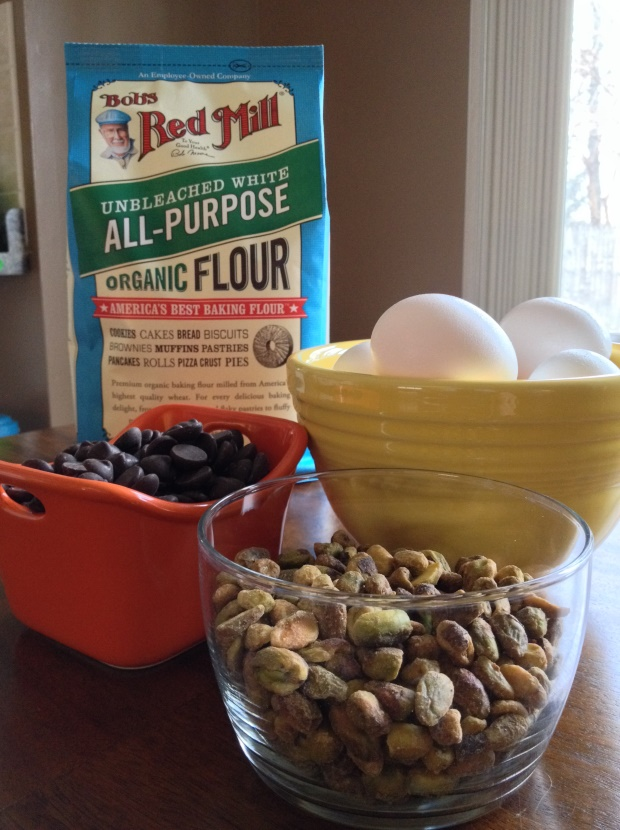 Bob's Red Mill Flour and ingredients for dark chocolate-pumpkin holiday cake