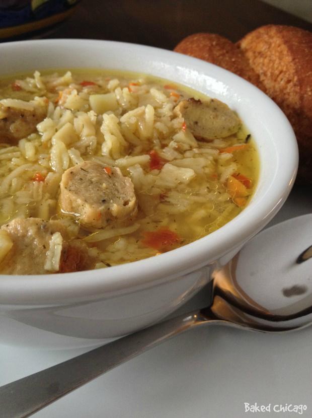 chicken sausage rice soup closeup