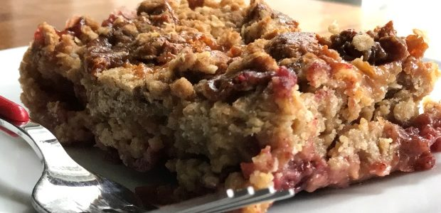 Rustic Honeycrisp Apple & Cranberry Crisp Drizzled with Salted Caramel
