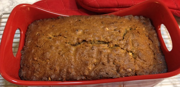 peanut butter banana bread with roasted cacao nibs