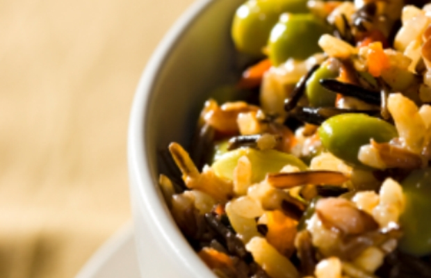 slow cooker wild rice with edamame